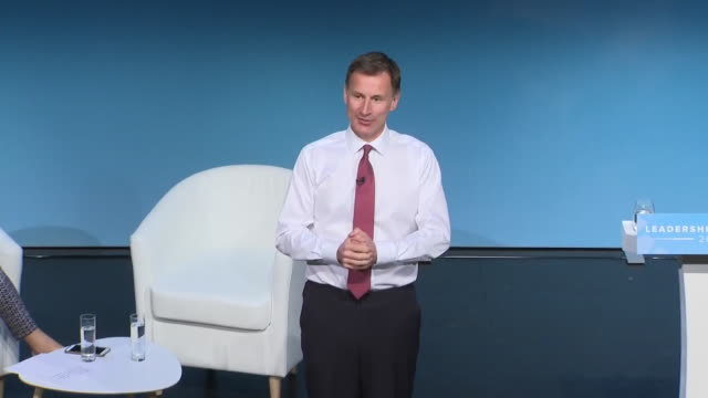 interior views of jeremy hunt's opening remarks of his speech at the conservative party leadership hustings event on 5 july 2019 in darlington,... - darlington nordostengland stock-videos und b-roll-filmmaterial
