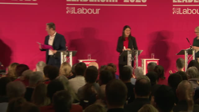 clean interior views of keir starmer lisa nandy and rebecca longbailey walk on stage at labour party leader hustings event on 23 february 2020 in... - 労働党点の映像素材/bロール