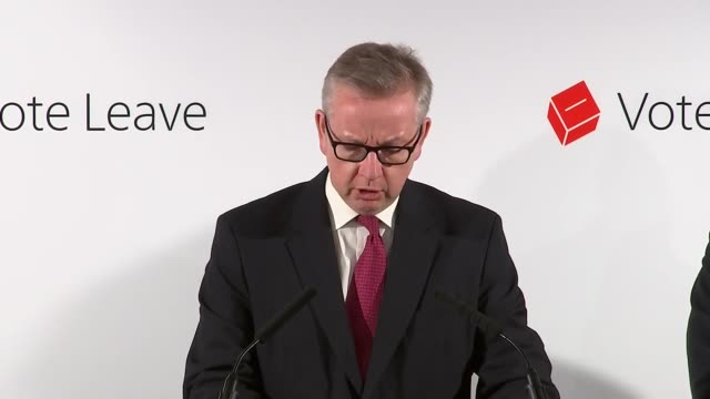 interior views of michael gove, speaking at a press conference about the result of the eu referendum on 24 june 2016 in london, united kingdom. - 2016 european union referendum stock videos & royalty-free footage