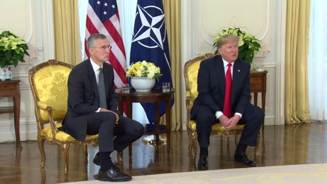 interior views of nato secretary general jens stoltenberg and president trump holding a press conference before the nato leaders summit including... - australian politics stock videos & royalty-free footage