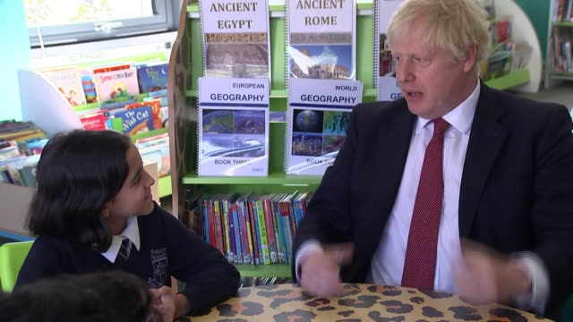 """interior views of prime minister boris johnson taking questions from schoolchildren, and tells them """" don't get drunk"""" and tells them about the... - prime minister's questions stock videos & royalty-free footage"""