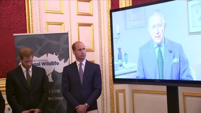 Interior views of Prince Charles speaking on video TV screen at a reception to officially open the 2018 Illegal Wildlife Trade Conference at St...