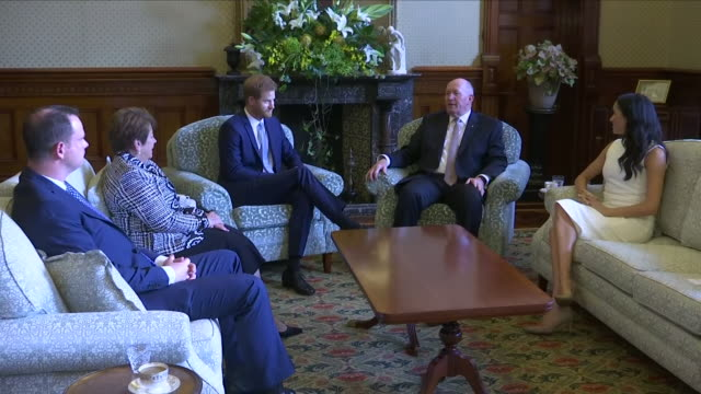 Interior views of Prince Harry and Meghan The Duke and Duchess of Sussex and Governor General Sir Peter Cosgrove and Lady Cosgrove sitting down and...