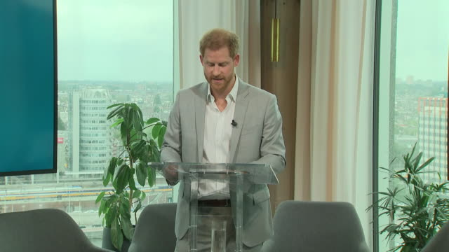 interior views of prince harry, duke of sussex as he continues his speech at the launch of a responsible eco tourism initiatve travalyst on 3... - eco tourism stock videos & royalty-free footage