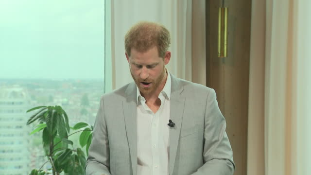 interior views of prince harry duke of sussex as he continues his speech at the launch of a responsible eco tourism initiatve travalyst on 3... - eco tourism stock videos & royalty-free footage