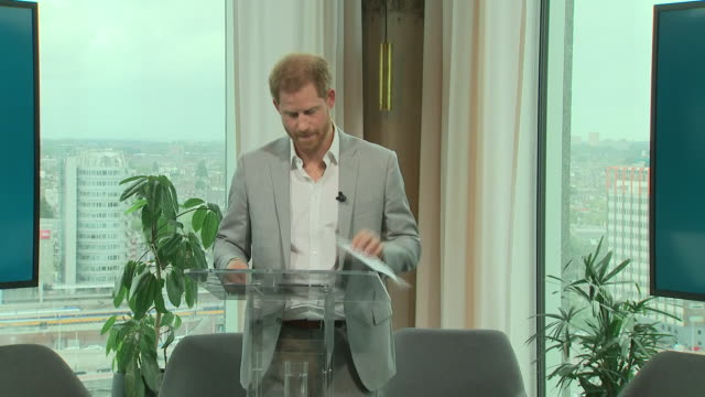 interior views of prince harry duke of sussex continues his speech at the launch of a responsible eco tourism initiatve travalyst on 3 september 2019... - eco tourism stock videos & royalty-free footage