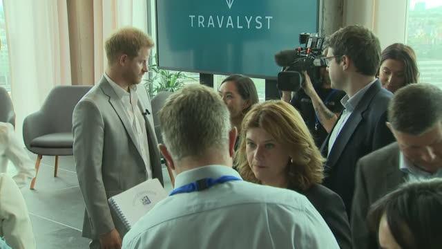 interior views of prince harry duke of sussex talking to guests before leaving the launch of a responsible eco tourism initiatve travalyst at the the... - eco tourism stock videos & royalty-free footage