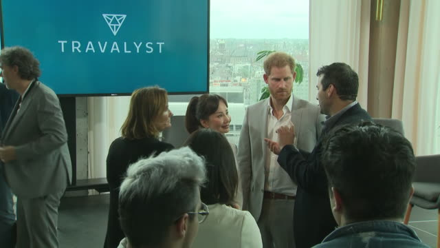 interior views of prince harry duke of sussex talking with guests as people take photos at the launch of a responsible eco tourism initiatve... - eco tourism stock videos & royalty-free footage