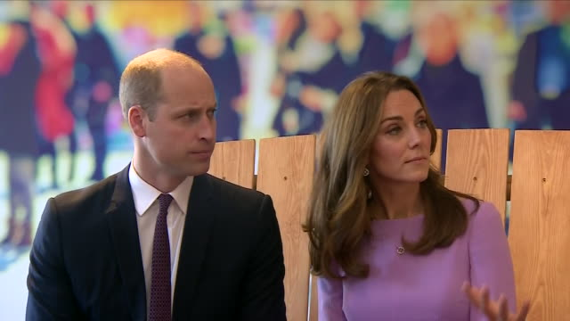 interior views of the duke and duchess of cambridge talking to unknown and then sitting on the friendship bench part of an innovative programme from... - mental health stock videos & royalty-free footage