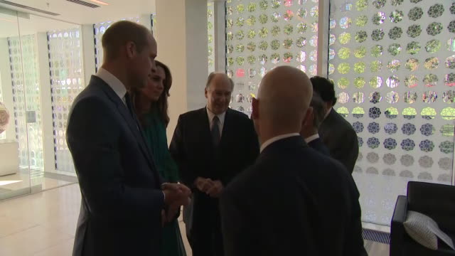 interior views of the duke and duchess of cambridge talking with aga khan and staff at the aga khan centre in king's on 2 october 2019 in london - imam stock videos & royalty-free footage