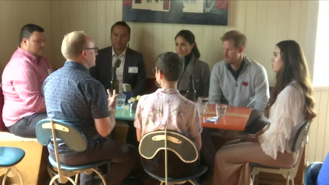 interior views of the maranui cafe in lyall bay as prince harry and megan, the duke and duchess of sussex talk with staff members and members of... - oceania stock videos & royalty-free footage