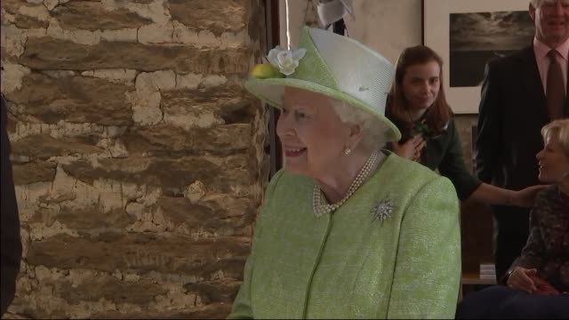 interior views of the queen meeting staff and viewing art at hauser & wirth gallery and arts centre on 28 march 2019 in bruton, united kingdom - british royalty stock videos & royalty-free footage