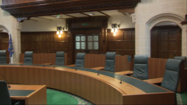 interior views of the supreme court, including panning from books to main table on 9 september 2019 in london, united kingdom - supreme court justice stock videos & royalty-free footage