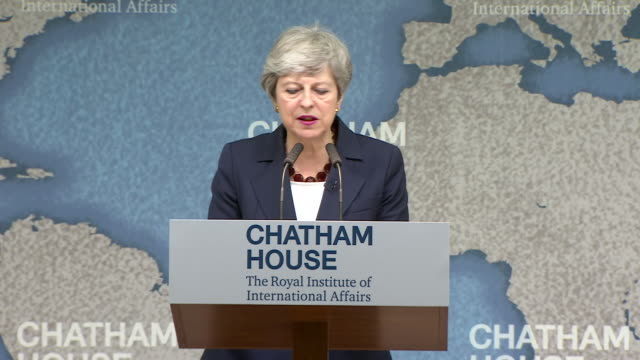 interior views of theresa may giving her final speech as prime minister at chatham house including talking about populism on 17 july 2019 in london... - populism stock videos and b-roll footage