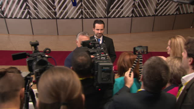 interior views of viktor orbán, prime minister of hungary , arriving and talking to the press at an eu summit on 12 december 2019 in brussels, belgium - prime minister stock videos & royalty-free footage