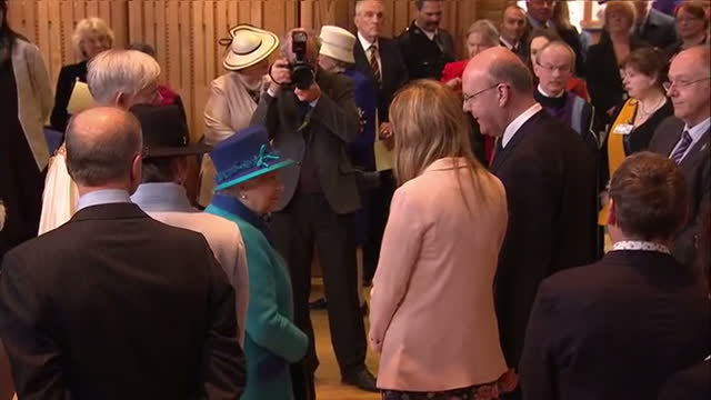 interior wide shots queen elizabeth ii meeting guests at canterbury cathedral, interior shots statue of queen and one of prince philip on march 26,... - canterbury cathedral stock videos & royalty-free footage