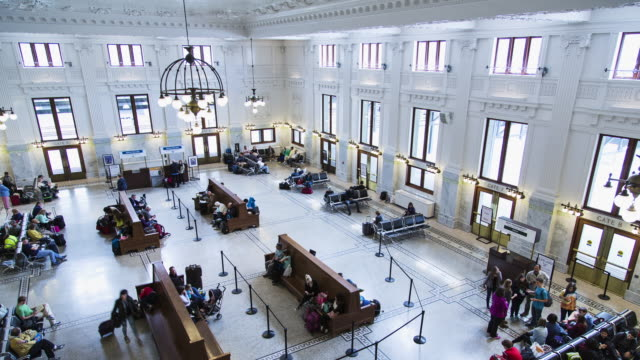 interior w/s time lapse of the king street station in seattle, wa - filiz stock videos & royalty-free footage