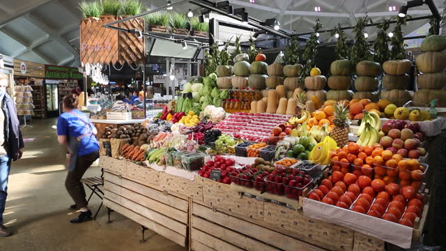 interiors and exteriors of danilovsky market in moscow, russia, on wednesday, march 24, 2021. in russia, food prices in particular have shot up,... - raw food stock videos & royalty-free footage