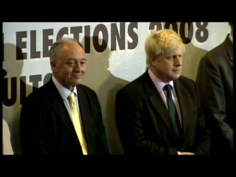interiors boris johnson stands next to ken livingstone awaiting results from returning officer interiors boris johnson declared new mayor of london... - mayor stock videos & royalty-free footage