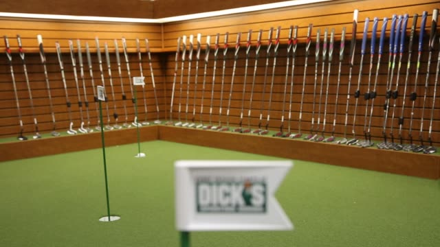 interiors of a dick's sporting goods store on august 18 2016 in sterling heights michigan shots wide of people in shoe department wide interior of... - golf shoe stock videos & royalty-free footage