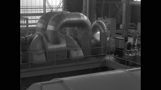 interiors of a nuclear power station turbine hall; 1956 - 1956 stock videos & royalty-free footage