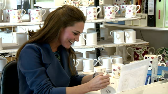 interiors of catherine, duchess of cambridge painting mug on february 18, 2015 in stoke, england. - peerage title stock videos & royalty-free footage