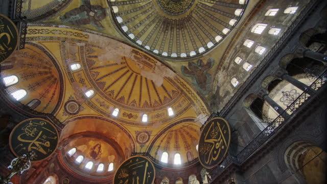interiors of hagia sophia, istanbul, turkey - ceiling stock videos & royalty-free footage