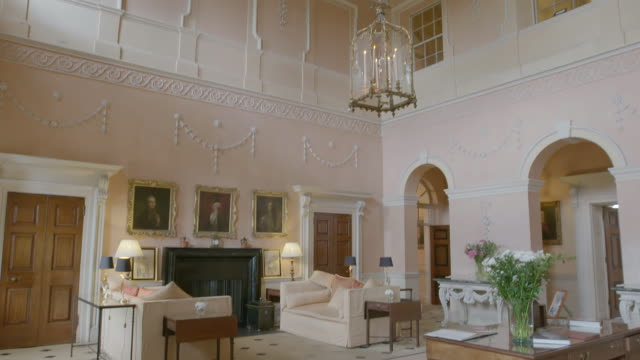 MS TD PAN Interiors of Kelmarsh Hall including furniture / Northamptonshire, England, United Kingdom