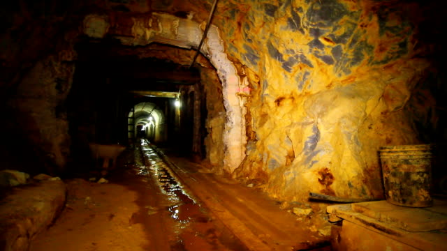 interiors of old gold mine. - stationary process plate stock videos and b-roll footage