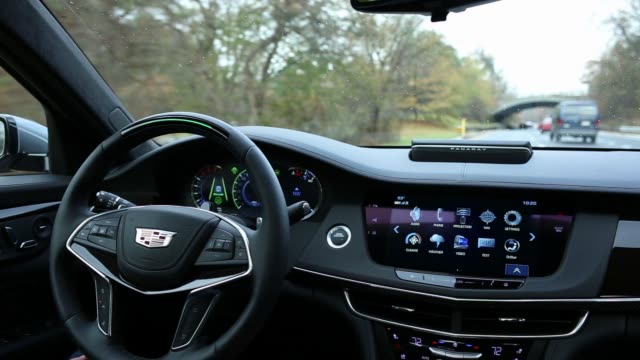 interiors of the 2018 cadillac ct6 during it's super cruise semiautonomous drive feature in new york on november 16 2017 photographer timothy fadek... - general motors stock videos & royalty-free footage