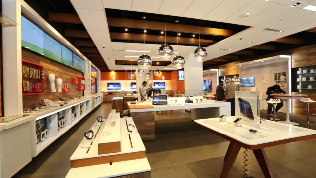 Interiors of the ATT Store on East 57th street including staff and customers in New York NY on Friday July 22 2016 Shots various similar interior...