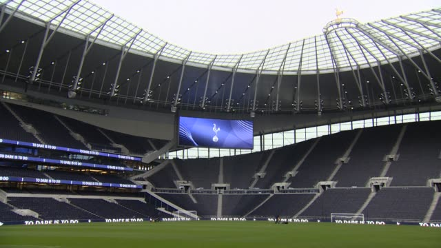 interiors of the new tottenham hotspur football stadium - stabilimento sportivo video stock e b–roll