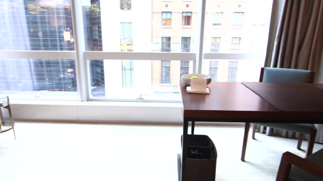 stockvideo's en b-roll-footage met interiors of the park hyatt hotel in new york ny on august 26 2014 hotel lobby and two receptionists standing by a desk with computers front door... - hyatt