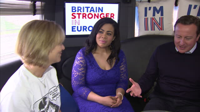 interiors shots of harriet harman mp and david cameron on board the vote remain bus talking to voters on the last day of campaigning ahead of the eu... - david cameron politician stock videos & royalty-free footage