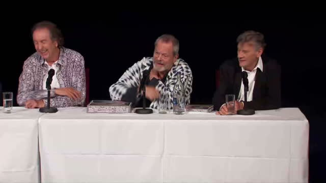 interiors showing presser from the monty python actors l to r terry jones, john cleese, eric idle, terry gilliam and michael palin - terry gilliam stock-videos und b-roll-filmmaterial
