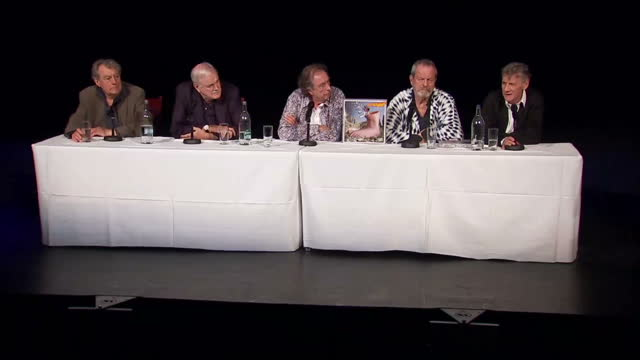 interiors showing presser from the monty python actors l to r terry jones, john cleese, eric idle, terry gilliam and michael palin - 俳優 テリー ジョーンズ点の映像素材/bロール