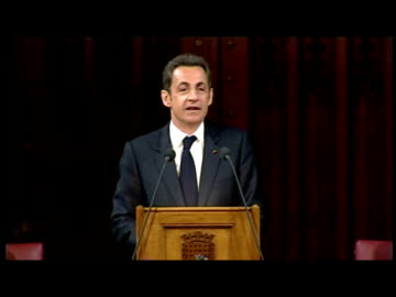interiors the president of the french republic, nicolas sarkozy gives speech to peers and mps in the royal cahmber of westminster palace - with... - cutaway video transition stock videos & royalty-free footage