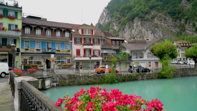 Interlaken Town with lake in Switzerland