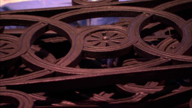 interlocking circles form a decorative gate in edinburgh, scotland. - interlocked stock videos & royalty-free footage
