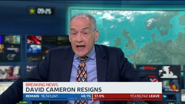 intermittent text and graphics on screen throughout*** england: london: gir studio: int presenter alastair stewart headlines re vote leave victory... - referendum stock videos & royalty-free footage