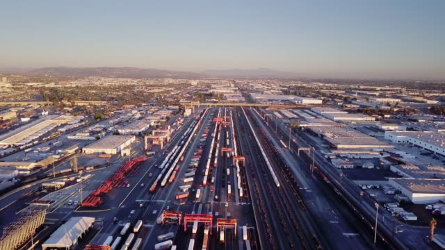 intermodal freight train yard, vernon, ca - aerial view - rail transportation stock videos & royalty-free footage