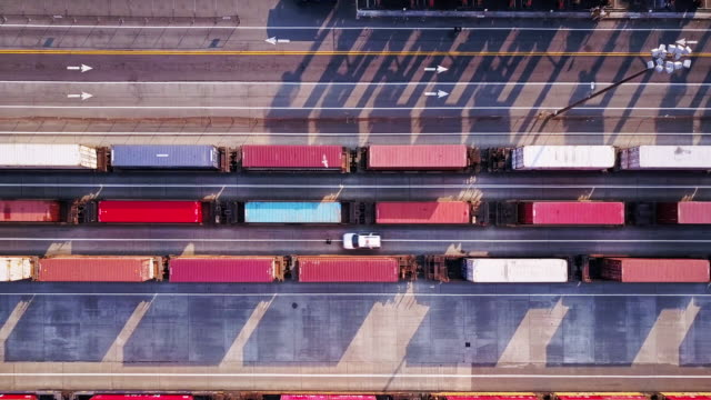 intermodal transport: freight trains in port terminal - thoroughfare stock videos and b-roll footage