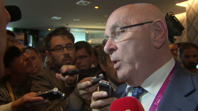 Internal Interview Royal Dutch Football Association President Michael van Praag speaking to press after a UEFA meeting prior to the 65th FIFA...