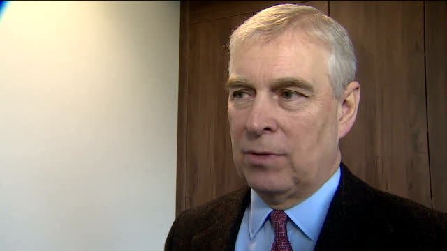 internal interview with prince andrew duke of york speaking about his reaction to his daughter princess eugenie's engagement to her boyfriend jack... - ヨーク公 アンドルー王子点の映像素材/bロール