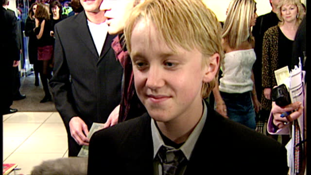 internal interview with tom felton on what was his best bit about filming harry potter and the philosopher's stone on november 4 2001 in london... - tom felton stock videos & royalty-free footage