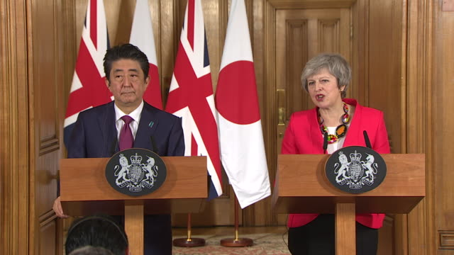 internal shots at downing street of prime minister of japan shinzo abe and prime minister of britain theresa may's presser shinzo abe talking about... - prime minister of the united kingdom stock videos & royalty-free footage