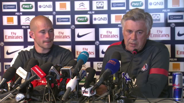 internal shots carlo ancelotti paris saintgermain manager talks about sir alex ferguson how surprising news of his retirement was carlo ancelotti... - major league soccer stock videos and b-roll footage