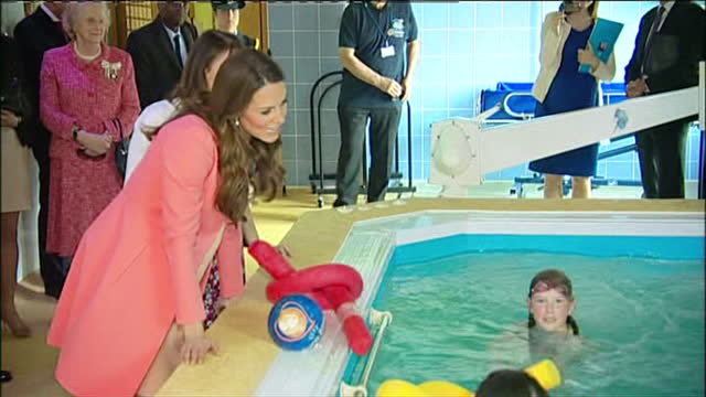 Internal shots Catherine Duchess of Cambridge chats with children in hydrotherapy pool The Duchess of Cambridge visit Naomi House Children's Hospice...