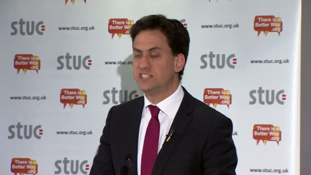 internal shots ed miliband, leader of labour party addressing scottish trades union congress at ayr race course on april 20, 2015 in ayr, scotland. - ayr stock videos & royalty-free footage