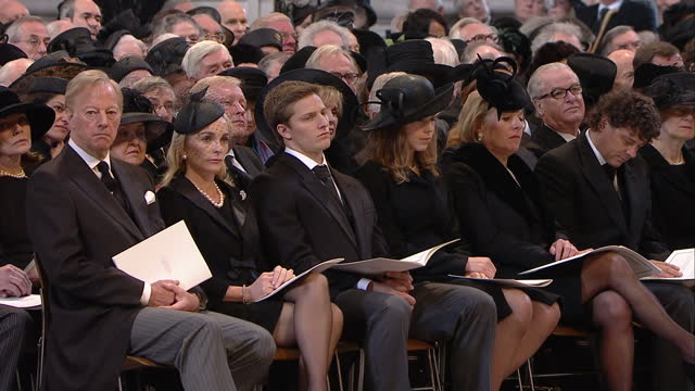 stockvideo's en b-roll-footage met internal shots of famous mourners attending the funeral of baroness thatcher including british prime minister david cameron and his wife samantha... - william hague